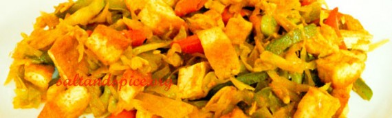 Stir Fried Tofu With Cabbage And Capsicum