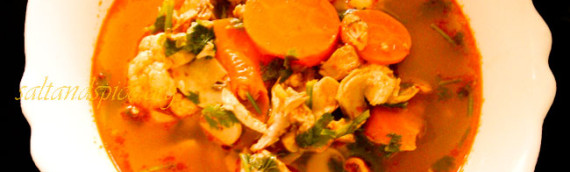 Tom Yum Chicken (Tom Yum Gai) Soup With Vegetables